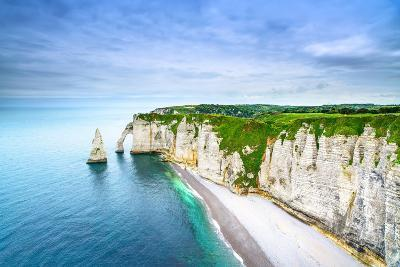 Etretat Aval Cliff, Rocks and Natural Arch Landmark and Blue Ocean-stevanzz-Photographic Print