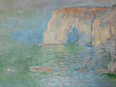 Etretat, the Cliff, Reflections on Water; 1885-Claude Monet-Giclee Print