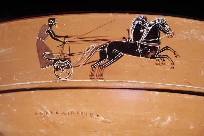 Etruscan Art: a Chariot Drawn by Two Horses (On a Vase)--Photographic Print