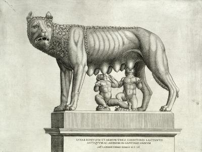 Etruscan Bronze of the She-Wolf Suckling Romulus and Remus, 5th Cent. BC, Capitoline Museum, c.1552-Antonio Lafreri-Giclee Print