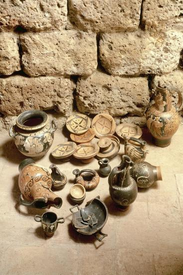 Etruscan Civilization, Funerary Objects Found in Tomb at Cerveteri, Lazio Region, Italy--Giclee Print