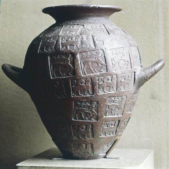 Etruscan Jar stamped with Centaurs and winged lions, 6th century BC-Unknown-Giclee Print