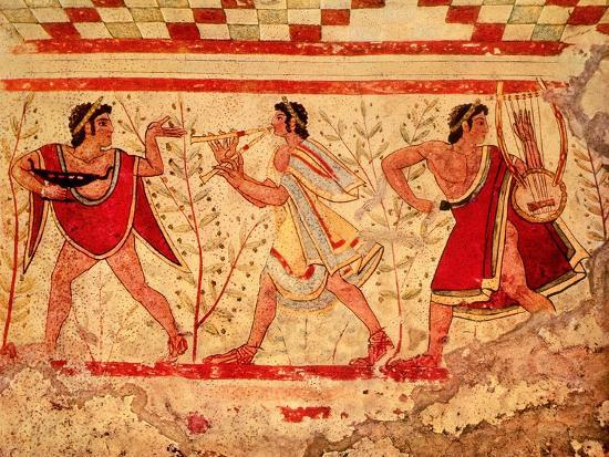 Etruscan Musicians, Copy of a 5th Century BC Fresco in the Tomb of the Leopard at Tarquinia--Giclee Print