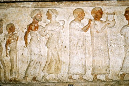 Etruscan Sarcophagus detail, Procession with Musicians, c5th century BC-4th century BC-Unknown-Giclee Print