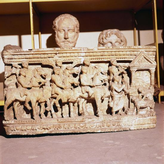 Etruscan Sarcophagus of Funeral procession approaching a shrine-Unknown-Giclee Print