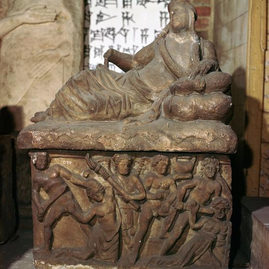 Etruscan sarcophagus showing a battle scene-Unknown-Giclee Print
