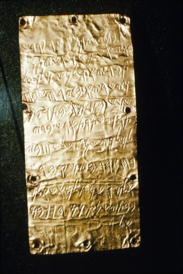 Etruscan Script on Gold Leaf at Villa Giulia, Rome, late 6th century BC- early 5th century BC-Unknown-Giclee Print