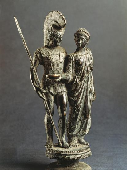 Etruscan Sculptural Group Representing Young Woman Offering Libation Phiale to Warrior--Giclee Print