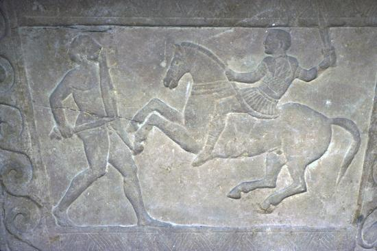 Etruscan Stela Detail, Combat between horseman and foot-soldier, c4th century BC-Unknown-Giclee Print