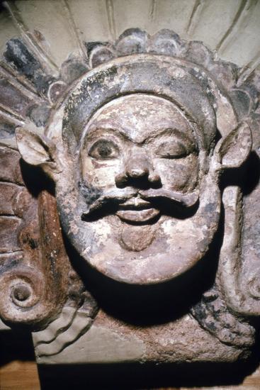 Etruscan Terracotta Antefix, Head of Silenus, from sanctuary of Portonaccio, 6th-5th century BC-Unknown-Giclee Print