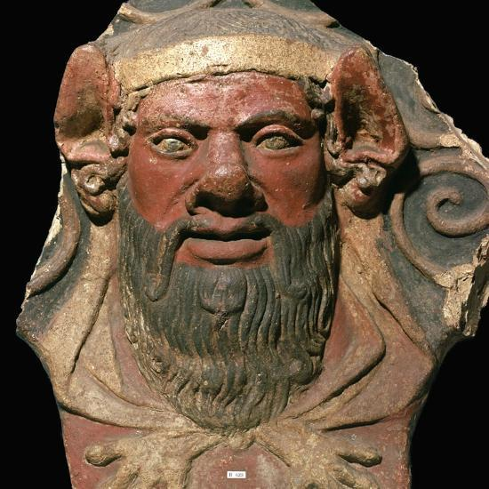 Etruscan terracotta head of a satyr-Unknown-Giclee Print