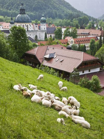 Ettal Abbey, Ettal, Bayern-Bavaria, Germany-Walter Bibikow-Photographic Print