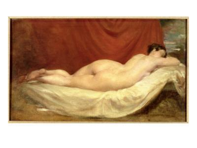 Nude Lying on a Sofa Against a Red Curtain