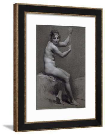 Etude de femme assise à droite, les bras levés-Pierre Paul Prud'hon-Framed Giclee Print