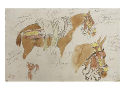 Etude de mule harnachée; 1832-Eugene Delacroix-Giclee Print