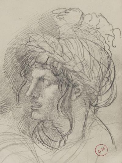 Etude de tête de femme aux longs cheveux  couronnée de lauriers de trois-quarts-Gustave Moreau-Giclee Print