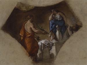 """Etude pour """"Lycurgue consulte la Pythie"""" ; étude pour la Bibliothèque du Palais-Bourbon"""