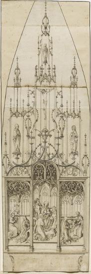 Etude pour un retable d'autel; scènes de l'Annonciation, de l'Adoration des Mages, de la Nativité;-Martin Schongauer-Giclee Print