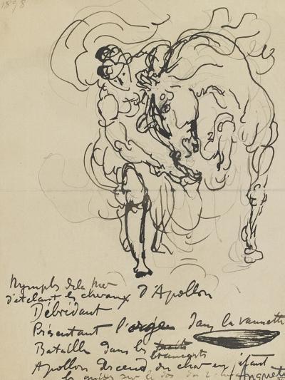 Etude pour une nymphe débridant l'un des chevaux d'Apollon-Louis Anquetin-Giclee Print