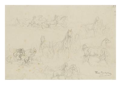 Etudes de chevaux pour 'le dépiquage des blés dans la Camargue'-Rosa Bonheur-Giclee Print
