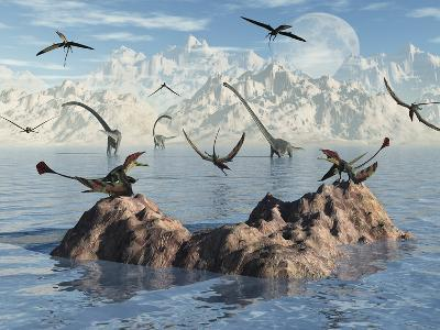 Eudimorphodon's Fishing for their Next Meal-Stocktrek Images-Photographic Print