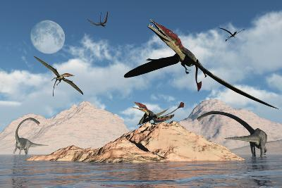 Eudimorphodons from the Triassic Period of Earth-Stocktrek Images-Art Print
