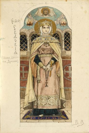 Eudoxia of Moscow (Study for Frescos in the St Vladimir's Cathedral of Kie), 1884-1889-Viktor Mikhaylovich Vasnetsov-Giclee Print