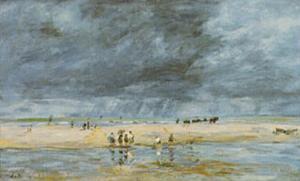 Figures On Beach by Eug?ne Boudin