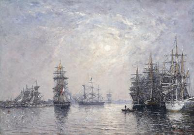 Le Havre, Eure Basin, Sailing Boats at Anchor, Sunset; Le Havre, Bassin De L'Eure, Voiliers a… by Eug?ne Boudin
