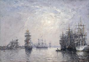 Le Havre, Eure Basin, Sailing Boats at Anchor, Sunset by Eug?ne Boudin