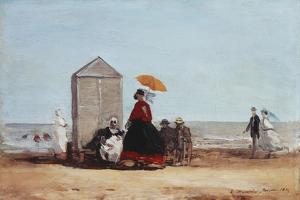 On the Beach at Trouville; Sur La Plage De Trouville, 1865 by Eug?ne Boudin
