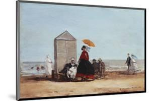 On the Beach at Trouville by Eug?ne Boudin