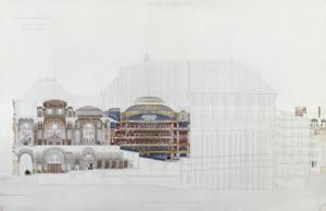 Académie impériale de musique, projet d'opéra, coupe longitudinale by Eug?ne Viollet-le-Duc