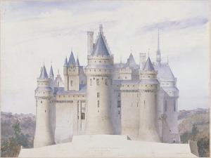 Pierrefonds, château, élévation extérieure sur la ligne C.D. du fossé by Eug?ne Viollet-le-Duc