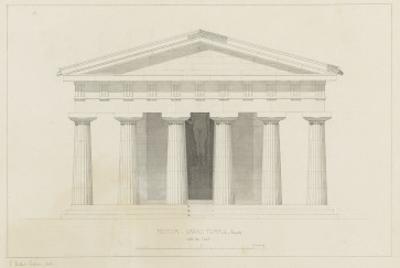 Temple de Paestum : Elévation e la façade restaurée. Côté de l'est by Eug?ne Viollet-le-Duc