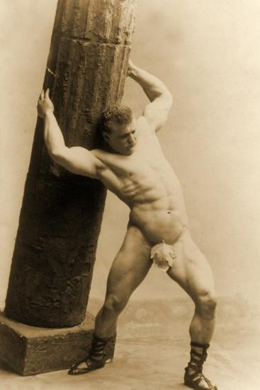 Eugen Sandow Holding a Pillar, in Classical Ancient Greco-Roman Pose, C.1897--Photographic Print