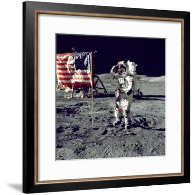Eugene A. Cernan, Commander, Apollo 17 Salutes the Flag on the Lunar Surface--Framed Photo