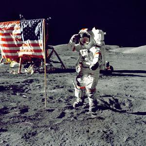 Eugene A. Cernan, Commander, Apollo 17 Salutes the Flag on the Lunar Surface