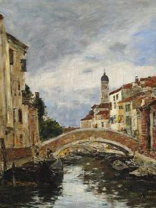 A Small Venetian Canal; Petit Canal a Venise by Eugène Boudin