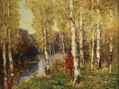 Birches by Eugène Boudin