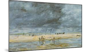 Figures On Beach by Eugène Boudin