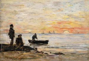 Low Tide - Shore and Fishermen at Sunset by Eugène Boudin