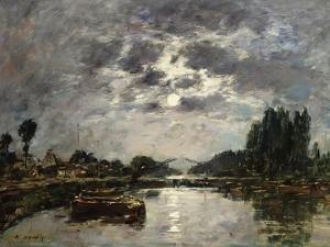Moonlight, Canal De St. Valery, 1891 by Eugène Boudin