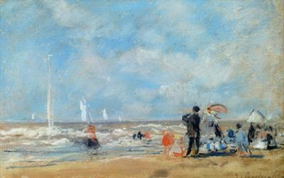 On the Beach, 1863 (W/C and Pastel on Paper)