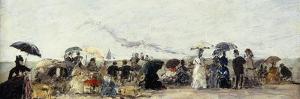 Trouville, Beach Scene by Eugène Boudin