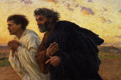 Disciples Peter and John Rushing to the Sepulcher, the Morning of the Resurrection by Eugene Burnand