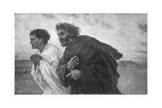 On the Morning of the Resurrection, the Disciples Peter and John on their Way to the Grave-Eugene Burnand-Premier Image Canvas