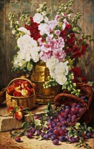 Still Life of Hollyhocks, Peaches and Plums by Eugene Claude