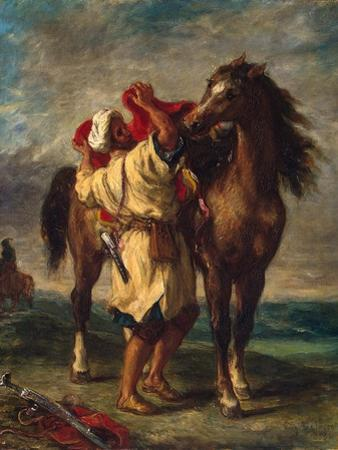 A Moroccan Saddling His Horse, 1855 by Eugene Delacroix