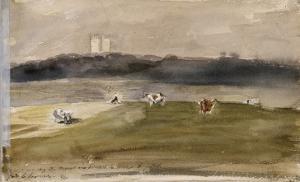 Album d'Angleterre. Paysage dans la campagne anglaise, avec vaches dans un champ. 8/9 juillet 1825 by Eugene Delacroix
